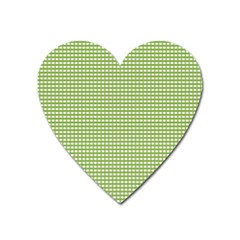 Gingham Check Plaid Fabric Pattern Heart Magnet by Nexatart