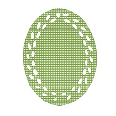 Gingham Check Plaid Fabric Pattern Ornament (oval Filigree) by Nexatart