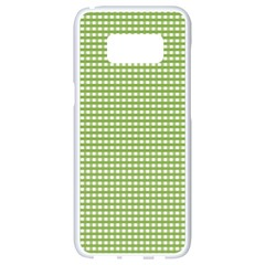 Gingham Check Plaid Fabric Pattern Samsung Galaxy S8 White Seamless Case