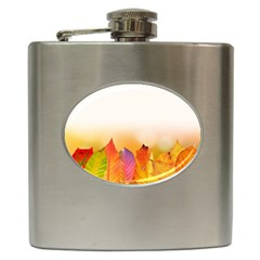Autumn Leaves Colorful Fall Foliage Hip Flask (6 Oz) by Nexatart