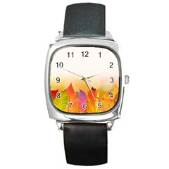 Autumn Leaves Colorful Fall Foliage Square Metal Watch by Nexatart