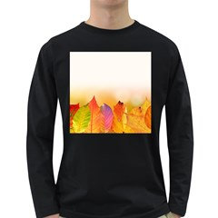 Autumn Leaves Colorful Fall Foliage Long Sleeve Dark T Shirts by Nexatart