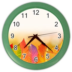 Autumn Leaves Colorful Fall Foliage Color Wall Clocks by Nexatart