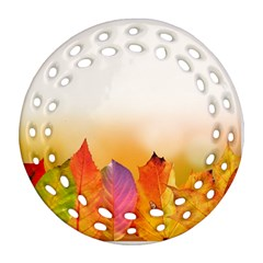Autumn Leaves Colorful Fall Foliage Round Filigree Ornament (two Sides) by Nexatart