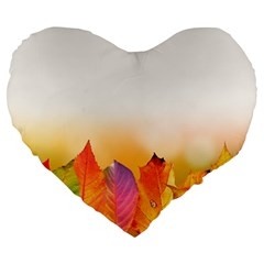 Autumn Leaves Colorful Fall Foliage Large 19  Premium Flano Heart Shape Cushions by Nexatart