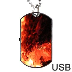 Fire Log Heat Texture Dog Tag Usb Flash (two Sides) by Nexatart