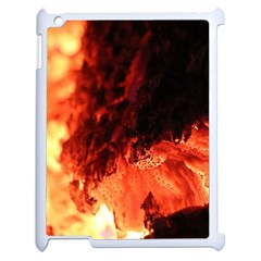 Fire Log Heat Texture Apple Ipad 2 Case (white) by Nexatart