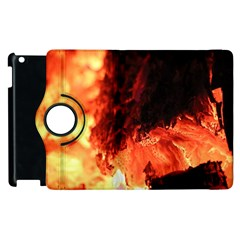 Fire Log Heat Texture Apple Ipad 3/4 Flip 360 Case