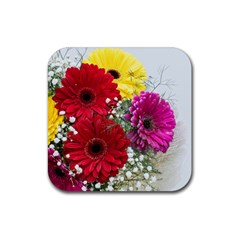 Flowers Gerbera Floral Spring Rubber Square Coaster (4 Pack)  by Nexatart