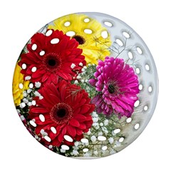 Flowers Gerbera Floral Spring Round Filigree Ornament (two Sides) by Nexatart