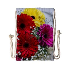 Flowers Gerbera Floral Spring Drawstring Bag (small) by Nexatart