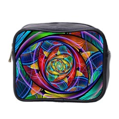 Eye Of The Rainbow Mini Toiletries Bag 2 Side by WolfepawFractals