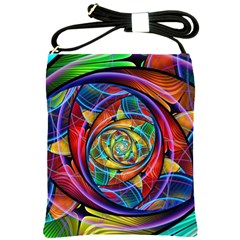 Eye Of The Rainbow Shoulder Sling Bags by WolfepawFractals
