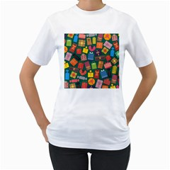 Presents Gifts Background Colorful Women s T Shirt (white)  by Nexatart