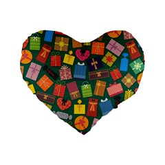 Presents Gifts Background Colorful Standard 16  Premium Flano Heart Shape Cushions by Nexatart