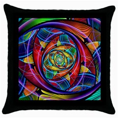 Eye Of The Rainbow Throw Pillow Case (black) by WolfepawFractals