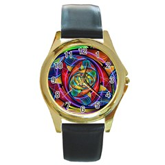 Eye Of The Rainbow Round Gold Metal Watch by WolfepawFractals