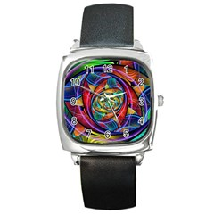 Eye Of The Rainbow Square Metal Watch by WolfepawFractals