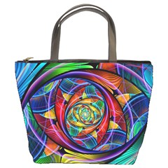 Eye Of The Rainbow Bucket Bags by WolfepawFractals