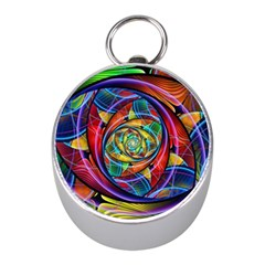 Eye Of The Rainbow Mini Silver Compasses by WolfepawFractals
