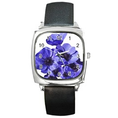 Poppy Blossom Bloom Summer Square Metal Watch by Nexatart