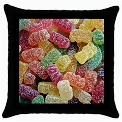 Jelly Beans Candy Sour Sweet Throw Pillow Case (black) by Nexatart