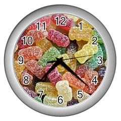 Jelly Beans Candy Sour Sweet Wall Clocks (silver)  by Nexatart