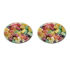 Jelly Beans Candy Sour Sweet Cufflinks (oval) by Nexatart