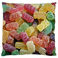 Jelly Beans Candy Sour Sweet Large Flano Cushion Case (one Side) by Nexatart