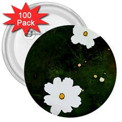 Daisies In Green 3  Buttons (100 Pack)