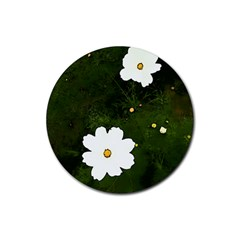 Daisies In Green Rubber Coaster (round)