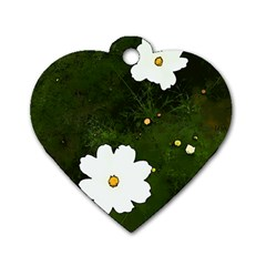 Daisies In Green Dog Tag Heart (two Sides)