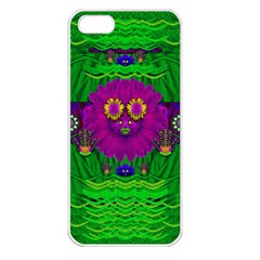 Summer Flower Girl With Pandas Dancing In The Green Apple Iphone 5 Seamless Case (white) by pepitasart