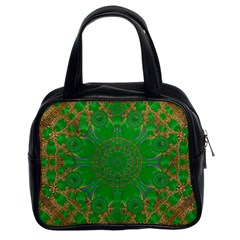 Summer Landscape In Green And Gold Classic Handbags (2 Sides) by pepitasart