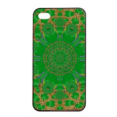 Summer Landscape In Green And Gold Apple Iphone 4/4s Seamless Case (black) by pepitasart