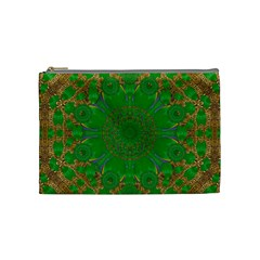 Summer Landscape In Green And Gold Cosmetic Bag (medium)  by pepitasart