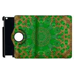 Summer Landscape In Green And Gold Apple Ipad 2 Flip 360 Case by pepitasart