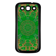Summer Landscape In Green And Gold Samsung Galaxy S3 Back Case (black) by pepitasart