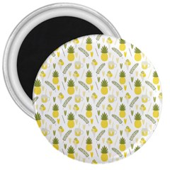Pineapple Fruit And Juice Patterns 3  Magnets by TastefulDesigns