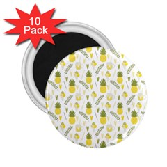 Pineapple Fruit And Juice Patterns 2 25  Magnets (10 Pack)  by TastefulDesigns