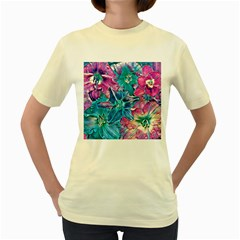 Wonderful Floral 22b Women s Yellow T Shirt by MoreColorsinLife