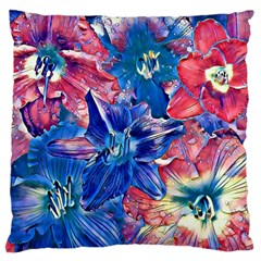 Wonderful Floral 22c Large Flano Cushion Case (one Side) by MoreColorsinLife