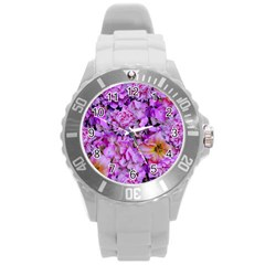 Wonderful Floral 24 Round Plastic Sport Watch (l) by MoreColorsinLife