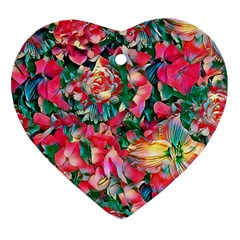 Wonderful Floral 24b Heart Ornament (two Sides) by MoreColorsinLife