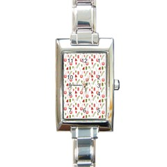 Watermelon Fruit Paterns Rectangle Italian Charm Watch by TastefulDesigns