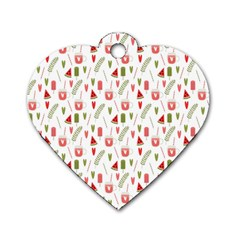 Watermelon Fruit Paterns Dog Tag Heart (two Sides) by TastefulDesigns