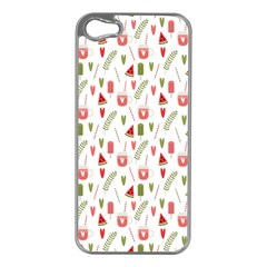 Watermelon Fruit Paterns Apple Iphone 5 Case (silver)