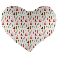 Watermelon Fruit Paterns Large 19  Premium Heart Shape Cushions by TastefulDesigns