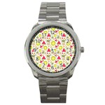 Summer Fruits Pattern Sport Metal Watch Front