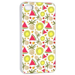 Summer Fruits Pattern Apple Iphone 4/4s Seamless Case (white) by TastefulDesigns